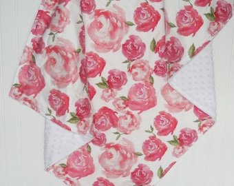baby girl quilt- peony baby quilt- floral baby quilt -floral baby blanket-minky baby quilt- baby bedding - crib bedding- peony baby bedding