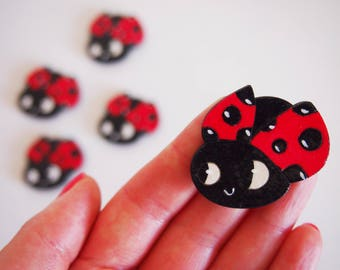 Ladybug magnet, handpainted wooden insect magnet, bug home decor for graduation, baptism and more