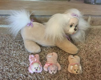Puppy Surprise Vintage 1992 From Hasbro Set Includes Tan Mother Dog, Her 3 Girl Puppies, Excellent Played With Condition