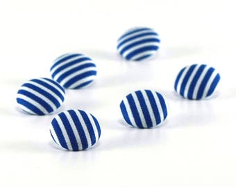 Fabric Button, Blue and White Stripes, 6 Fabric Covered Buttons, Stripes Are The New Polka Dots, Handmade Button, Sewing Clothing Knitting