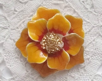 Beautiful, Vintage, New, Old Stock, Pumpkin Color,  Enamel, Large Flower with Gold Crystals