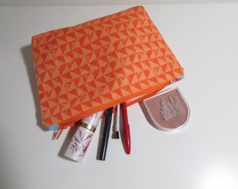 Zipper Pouch in orange, gusseted, sturdy, cosmetics, camera, phone, carry all