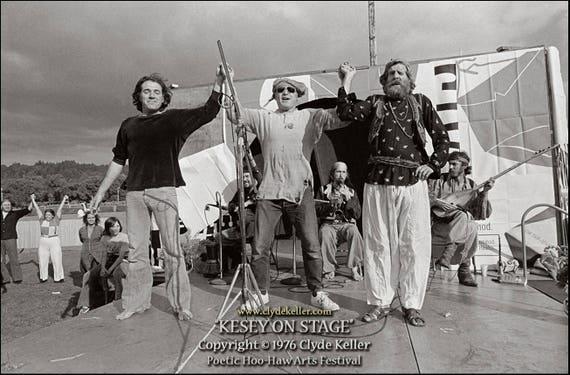 KESEY ON STAGE, Poetical Hoo-Haw, Clyde Keller photo, 1976