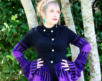 Purple and Black Military Bustle Coat- Upcycled Sweater Coat with Arm Warmer Sleeves- by SnugglePants- Ready to Ship