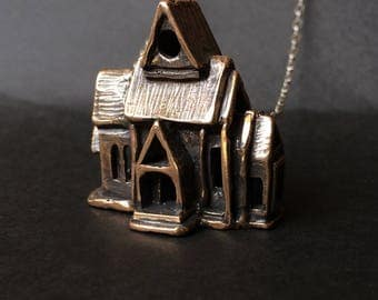 Temple Necklace - Bronze or Sterling Silver  - Miniature House - inspired by my dream - Jamie Spinello