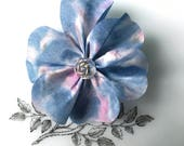 Blue Flower Brooch, silk corsage, blue silk flower, silk pin, flower corsage, silk jewellery, silk jewelry, lapel pin, hat pin, brooches, F2