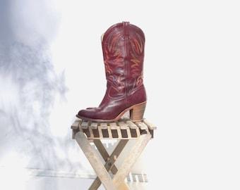 70s Western Boots High Heel Cowboy 1970s Vintage Boots Cowboy Boots Burgundy 70s Boots Women Cowboy Boots 1970s Boots US 8, EU 39, UK 6