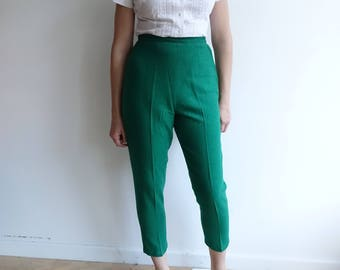 Vintage 60's Green Woven Cigarette Trousers/Cropped High Waisted Betty Draper Pants