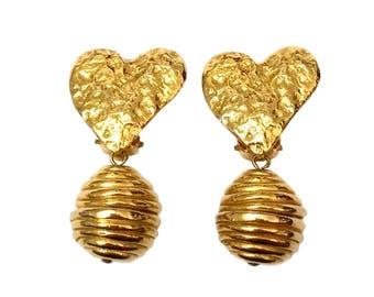 Sonia Rykiel Earrings, Vintage Designer Signed Jewelry, High End Designer Earrings, Couture Paris Rykiel Jewelry, Heart Earrings Beehive
