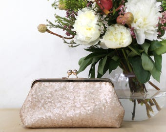 Blush Champagne Sequins (small) Tulle Clutch   Bridesmaids   Mother's Clutch