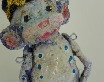 One of a Kind paper mache sculpted folk art monkey