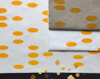yellow pebble hand screen printed fabric panel