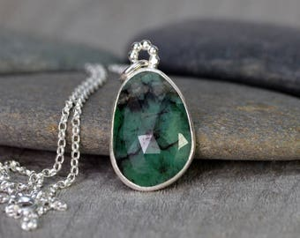 Rose Cut Emerald Necklace, 9.35ct Emerald Necklace, May Birthstone, Large Emerald Necklace Handmade In The UK