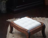 Biscuit tufted linen ottoman, vintage curved leg wood furniture restored and reupholstered