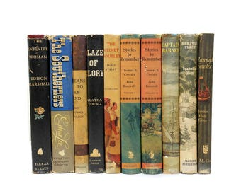 Vintage Books Stack 10 Hardcovers With Dust Jackets Mid Century Instant Library Home Staging Decor