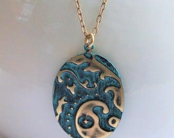 Vintaj Jewelry, Vintaj Necklace, Black Turquoise Necklace, Handpainted Jewelry, Boho Jewelry, Patina Necklace, Oval Necklace, Brass Jewelry