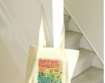 Rainbow Postage Stamp Tote Bag | long handle shopper, reusable cotton fabric market bag | eco friendly student book bag, back to school gift