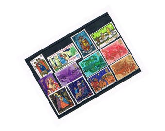 Nativity Selection, Traditional Christmas Postage Stamps | Wise Men, Shepherds, Angels, Mary & Jesus | used postal stamps, upcycle decoupage