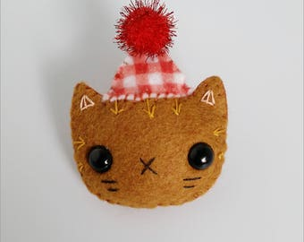 Orange Felt Cat in a Party Hat Pin