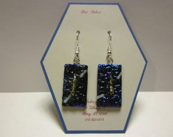 Fused glass earrings-blue purple textured dichroic with gold dichroic and white highlight