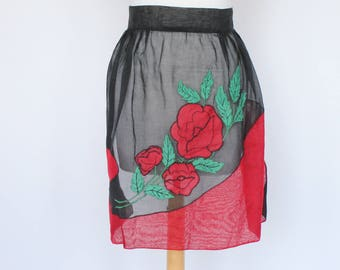 50's 60's Vintage Half Apron / Black and Red Organza / Roses