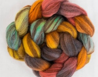 Hand dyed roving, Hand painted Shetland Humbug, Humbug, Tops, hand dyed fiber, Hand dyed spinning wool, Handspinning, felting projects