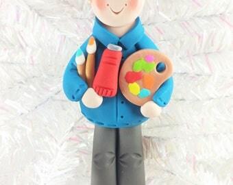 Male Art Teacher Christmas Ornament - Gift for Male Art Teacher - Male Artist Christmas Tree Ornament - Male Artist Gift -8181