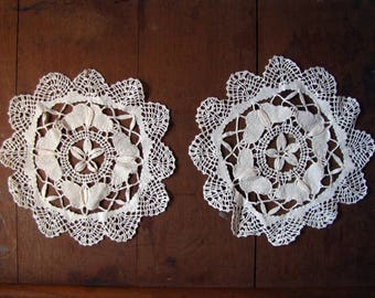 antique butterfly doily - pair of vintage crochet Bedfordshire bobbin lace - circa 1910 1920s
