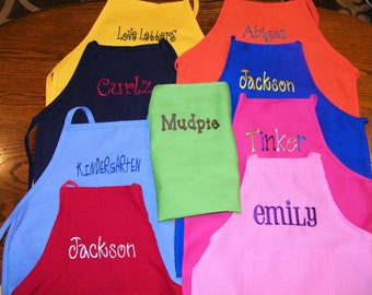 Personalized (Name) Embroidered USA Made Kids Toddler K-6 Aprons, School, Parties, Gift - 14 Fun Colors -