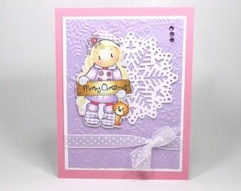 Kid's Christmas card, Christmas card girls, Girls Christmas card, granddaughter, daughter, god child, Merry Christmas card