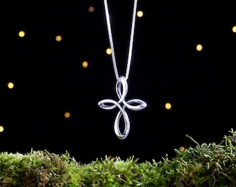 Sterling Silver Celtic Infinity Cross - Double Sided - (Pendant, or Necklace)