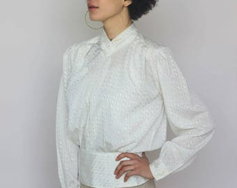 high brow -- vintage 70's ivory avant garde high neck blouse M