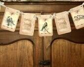 Vintage Style Bird Banner, Shabby Bird Garland, Cottage Style Bird Banner Garland, Crown Garland