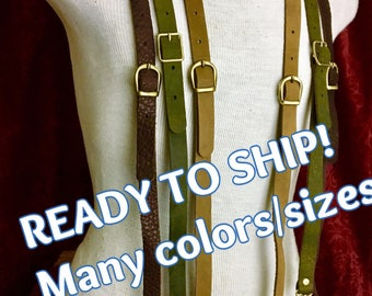 Leather Suspenders- READY TO SHIP brown black steampunk Y back- unisex Browncoat costume, Brown or Black Braces w/snap hooks