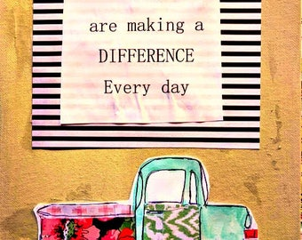 """Pickup Truck 8.5"""" x 11"""" Wonder Original Flat Canvas Make a Difference Inspiration Painting Mixed Media Floral Stripes FREE SHIP"""