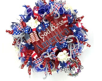 Deco Mesh 4th of July Wreath, Patriotic Wreath, Red White and Blue Wreath for Door, Patriotic Hydrangea Wreath, God Bless America Decor