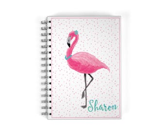 Personalized Flamingo Planner Notebook - Monthly Calendar