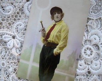 Antique flapper girl photo postcard, Antique female rider photo postcard, Antique equestrian photo postcard, Art Nouveau girl RPPC