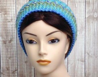 Green and Blue Messy Bun Winter Hat, Messy Bun Beanie