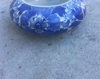 The Vintage Blue & White Dutch Holland Original Delfts Blauw Ram Porcelain Jewelry Bowl or Ashtray