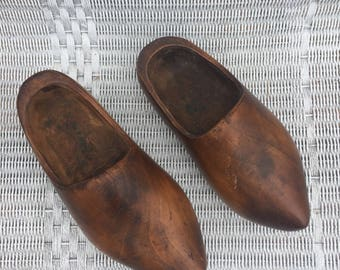 The Vintage Holland Dutch Hand Carved Wooden Clogs Shoes