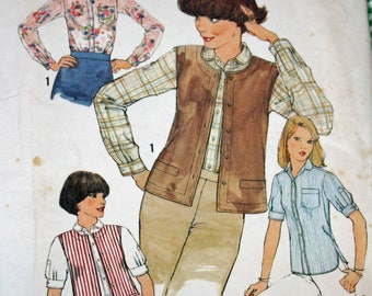 Vintage 1970s Sewing Pattern, Simplicity 8065, Misses' Shirt and Vest, Misses' Size 10, Bust 32 1/2""