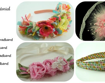 Fabric Headband Tutorial Bundle ... includes 4 headbands plus 2 flower tutorials