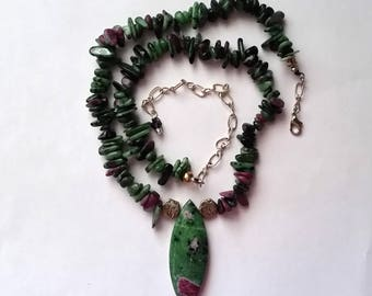 Ruby-in-Zoisite Necklace, Earthly Crystal Stone, Psychic Ability Stone, Spirituality Stone