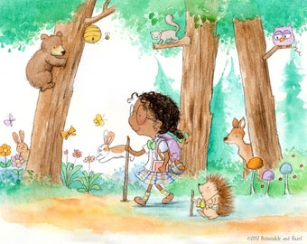 Periwinkle and Hazel Discover the Woods - Girl Hiking with Hedgehog Friend  - Art Print