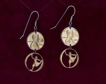 CLEARANCE- Bharatanatyam Dancers Cut Pennies Earrings Pose 3