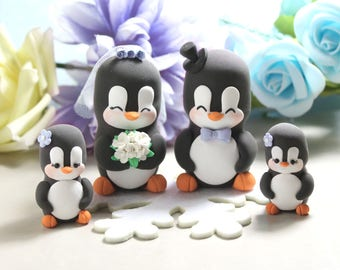 Family wedding cake toppers Penguins - LARGER size, baby/child - unique anniversary gift wedding bride groom snowflake cornflower blue light