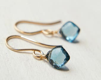 London Blue Topaz Earrings, Minimal Jewelry, Navy Earrings, Dangle Earrings