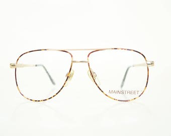 Vintage 1980s Tortoiseshell Aviator Glasses Amber Gold Metallic 80s Eighties Sunglasses Eyeglasses Womens Ladies Retro Glam Girl