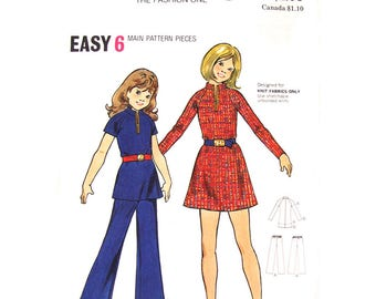 Girls Raglan Sleeve Dress or Tunic, Flared Pants Pattern Butterick 6787 Zipper Front Dress or Top Trousers Girls Sewing Pattern Size 7 or 12